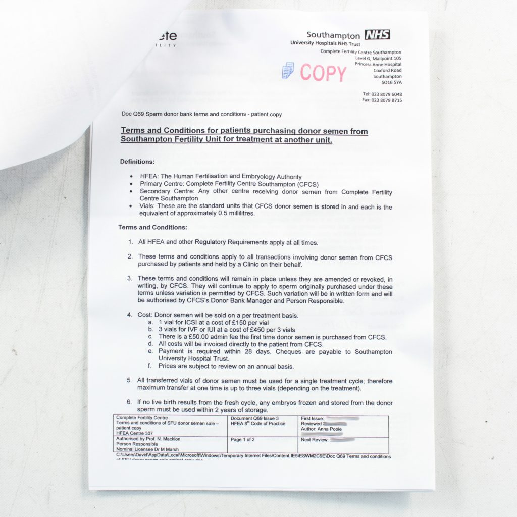 Sperm donor legal paperwork